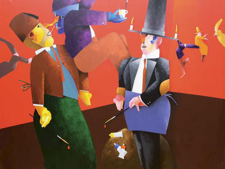 Emilio Tadini, Fiaba dei tre pittori, 2000, Acrilici su tela, cm 200x150