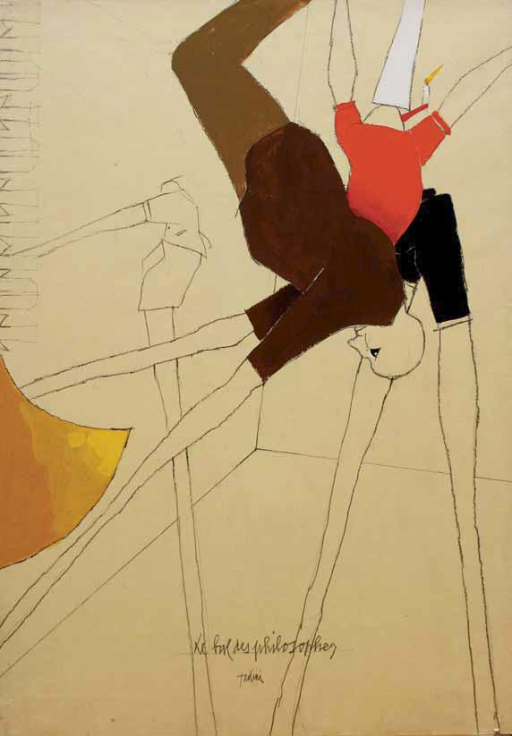 Emilio Tadini, Il ballo dei filosofi, 1996, Tecnica mista su carta da pacco intelaiata
