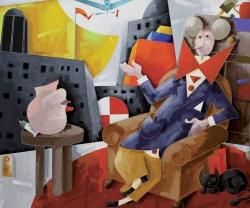 Emilio Tadini, Il collezionista, 1998, Acrilici su tela, cm 146x114