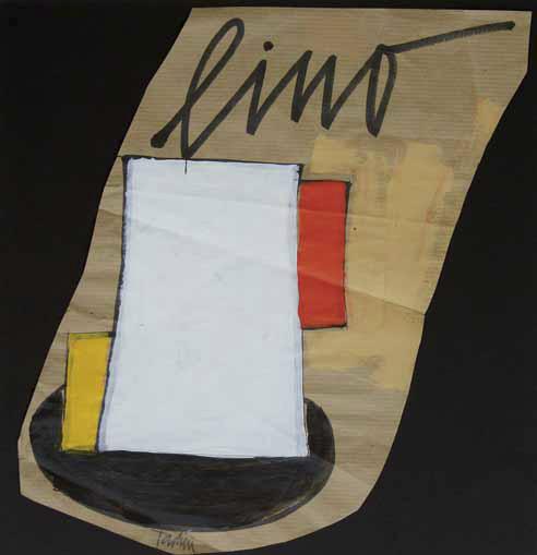 Emilio Tadini, Lino, 1996, Tecnica mista su carta da pacco, 32x32