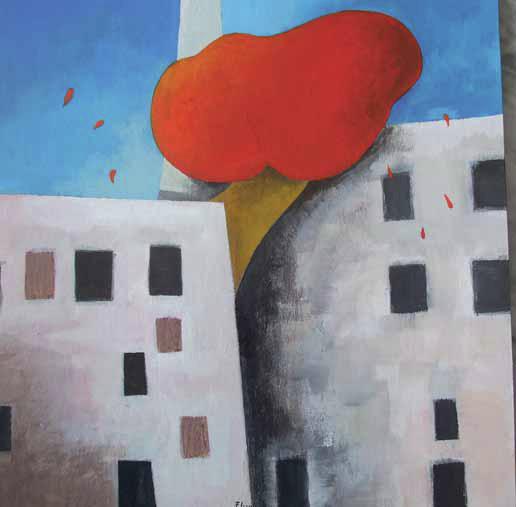 Fabio Grassi - in omaggio a Tadini - L'albero rosso, 2013, Acrilico su cartone, cm 31,3 x 31,5