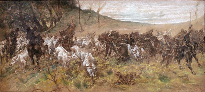 Giovanni Fattori, Incontro fatale, 1900, Pastello su cartone, 980 x 2000 mm