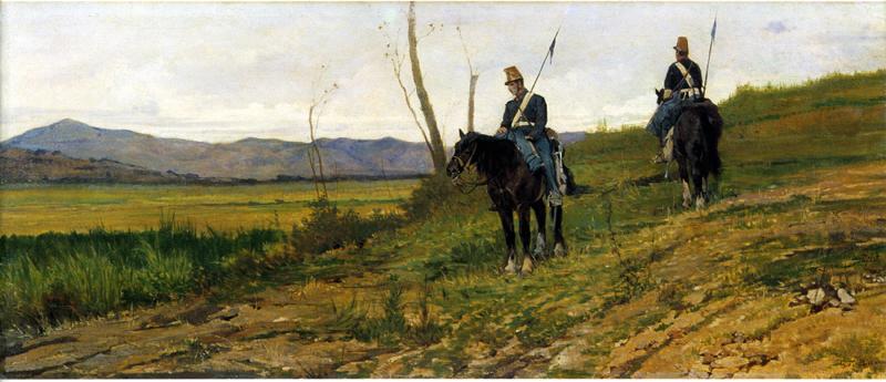 Giovanni Fattori, Le vedette, 1870-1875, Olio su tela, 40 x 107