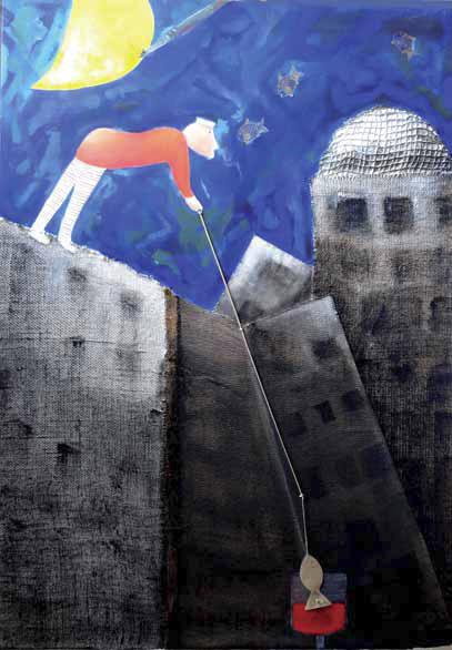 Isa Locatelli - in omaggio a Tadini - La fiaba del pescatore, 2013, Pittura e collage, cm 100x70