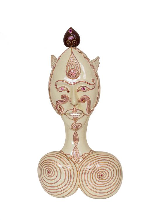 Luigi Ontani, Bali Bulè, 2007-2009, maschera di legno di pule dipinta, 80x40x15 cm