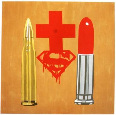 Mostre Milano Expo e documenti - Lorenzelli Arte 2010 - Ronnie Cutrone, Crusade, 2005, acrilici e collage su tela, cm 180x180