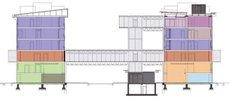Ponte Lambro Milano, Renzo Piano  - la sezione degli edifici collegati dal ponte