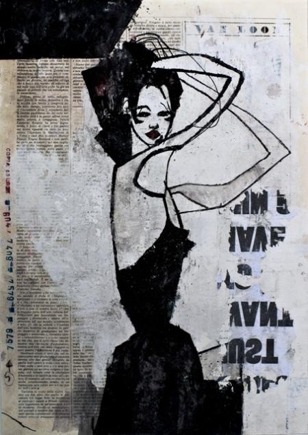 Expo Milano, Monica Marioni, Bitch! (detail 'her'), 2012, tecnica mista su periodico 'Corrente', 50x35,5cm
