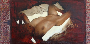 Tomas Watson, Woman (on a Carpet), 2013, olio su tappeto, cm 50x100