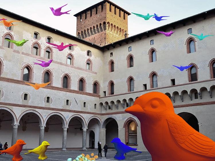 Castello Sforzesco - Cracking Art Group Milano NIDO DI RONDINI