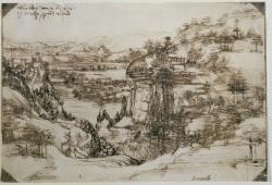 LEONARDO 1542-1519 Milano Palazzo Reale,  Studio di paesaggio