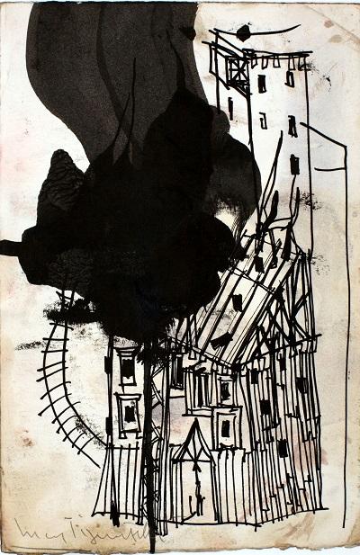 Luca Pignatelli, Senza titolo, 28.5x18.7 cm, tecnica mista su carta trattata