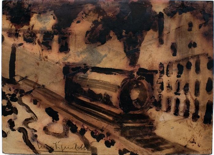 Luca Pignatelli, Treno, 22.5x31 cm, tecnica mista su carta trattata