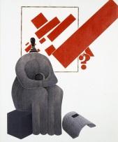 Emilio Tadini, Archeologia con de Chirico, 1972, Acrilici su tela, 162 x 130 cm, Courtesy Fondazione Marconi