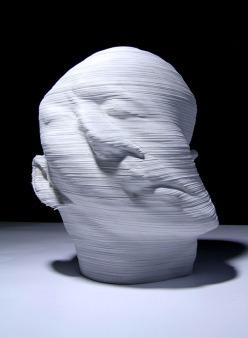 Li Hongjun _rotated_head_paper_sculpture_collabcubed