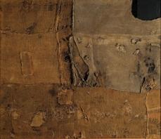 Alberto Burri Sacco e Verde, 1956; cm. 176x203; Sacco, tela, acrilico, olio su tela (Fondazione Palazzo Albizzini Collezione Burri)