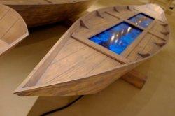 Fabrizio Plessi, Digital Boat, 2012, barca in legno d'abete, cm 340x80x65
