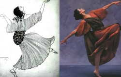 Isadora Duncan in a 1917 drawing + a model in a Fortuny Delphos gown